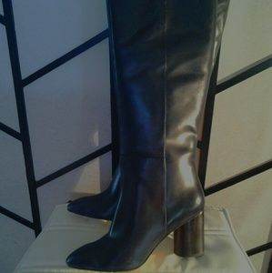 af710862c35a8 Nine West Navy Blue Leather Knee Length Boot NWOT